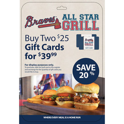 $25 Braves All Star Grill Gift Card, 2 pk.