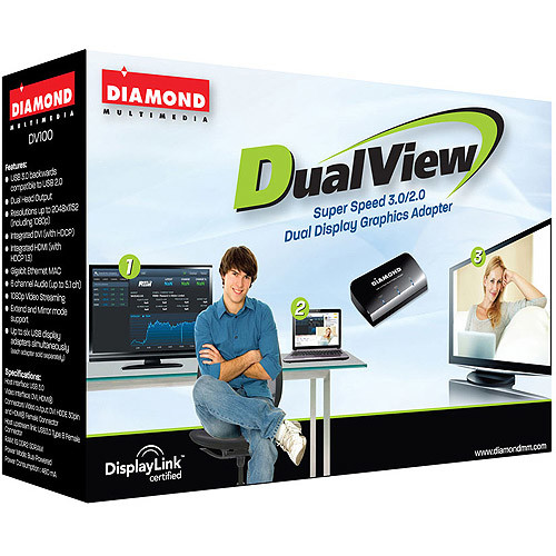 Diamond DV100 USB 3.0 / 2.0 to DVI / HDMI with Audio HD 1080P External Dual Video Card / Display Adapter for simultaneous Multiple Monitors DisplayLink DL-3900 (2048 X 1152)