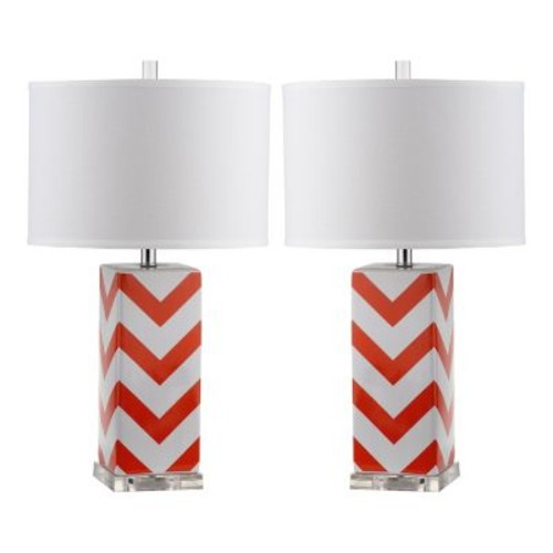 Safavieh Chevron 27 in. Orange Stripe Table Lamp (Set of 2)