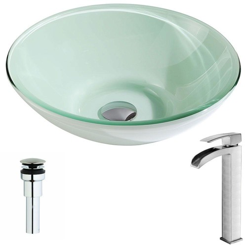 ANZZI Sonata Series Deco-Glass Vessel Sink in Lustrous Light Green with Key Faucet in Brushed Nickel