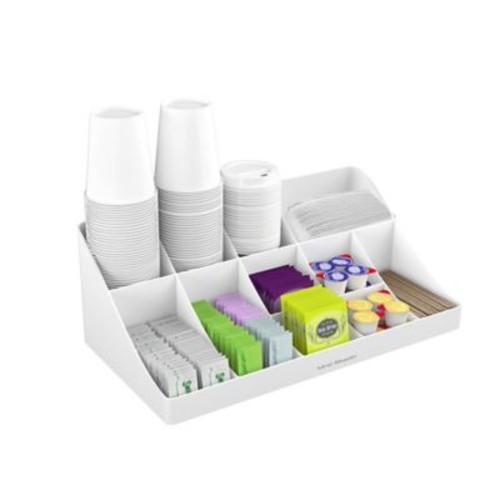 Mind Reader 'Pioneer' 11 Compartment Break Room Coffee Condiment Organizer, White, (COMORG-WHT)