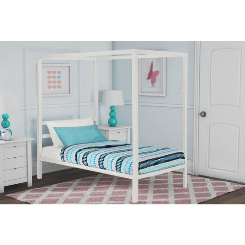 Dorel Modern Twin White Metal Canopy Bed