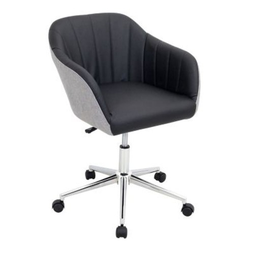 Lumisource Shelton Contemporary Faux Leather Office Chair, Gray/Black (OFC-AC-SHL GYBK)