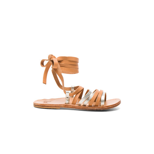 Beek Leather Heron Sandals in Silver & Natural