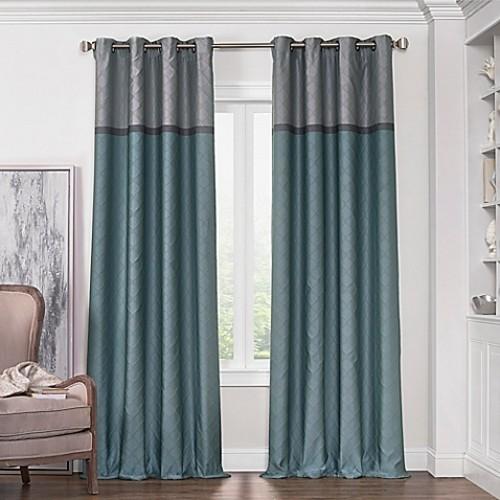 Solar Shield Haledon 63-Inch Grommet Room Darkening Window Curtain Panel in Blue