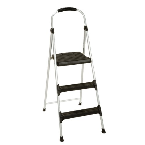 Cosco Home and Office Products Signature Step Stool Three-Step Aluminum with Plastic Steps