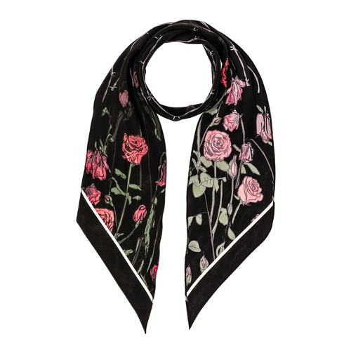 Rockins Roses Classic Skinny Scarf in Black