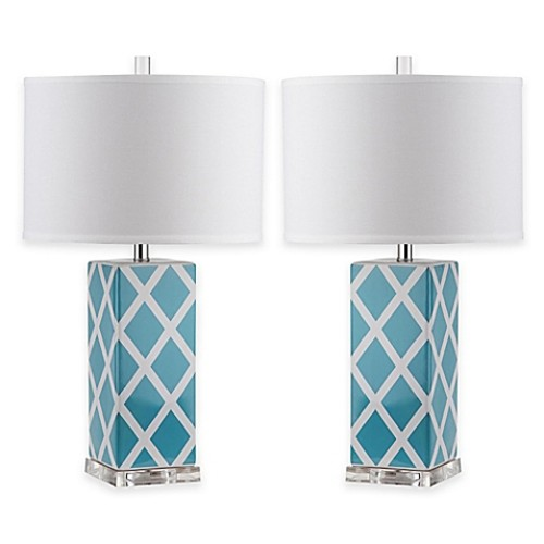Safavieh Garden Lattice 1-Light Acrylic Table Lamps in Light Blue with Cotton Shades (Set of 2)
