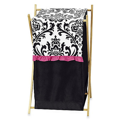 Sweet Jojo Designs Isabella Laundry Hamper in Hot Pink/Black/White