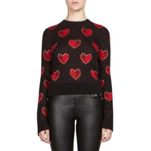 SAINT LAURENT Heart Jacquard Wool Cropped Sweater