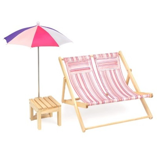 Badger Basket Double Doll Beach Chair with Table and Umbrella - Summer Stripes