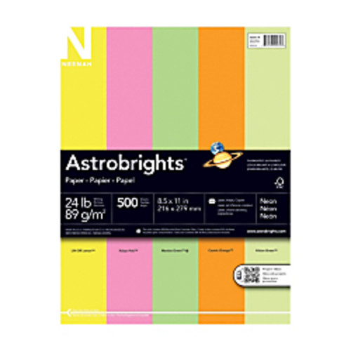 Neenah Astrobrights Bright Color Paper, Letter Size Paper, 24 Lb, Assorted Colors, Ream Of 500 Sheets