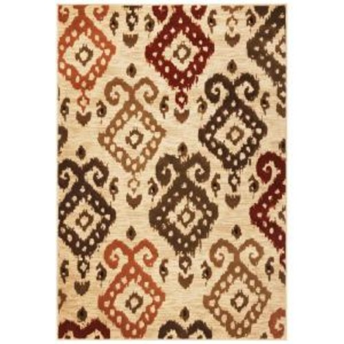 Kas Rugs Soft Ikat Ivory 3 ft. 3 in. x 4 ft. 11 in. Area Rug
