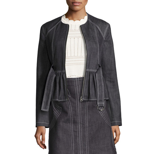 DEREK LAM 10 CROSBY Belted Stretch Chambray Peplum Jacket, Indigo