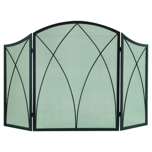 Pleasant Hearth Arched Fireplace Screen - Black