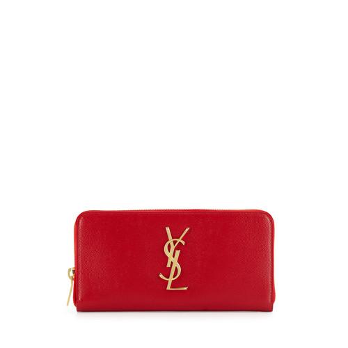SAINT LAURENT PARIS Monogram Matelassé Leather Zip Around Wallet By