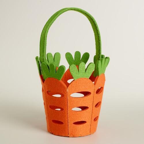 Large Carrot Felt Easter Basket