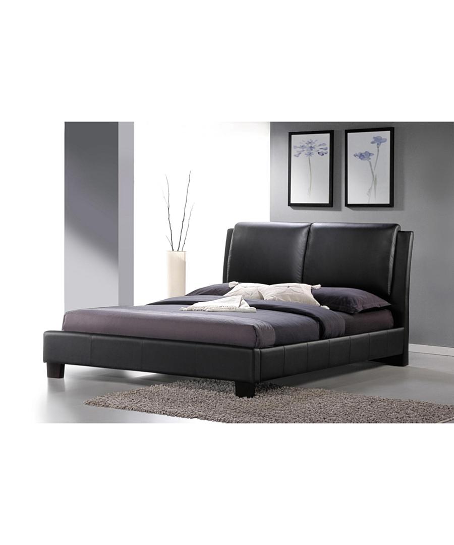 Baxton Studio Sabrina Modern Bed with Overstuffed Headboard [Black : Black]