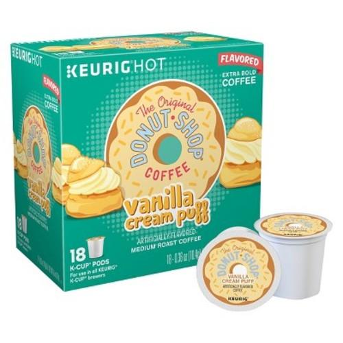 The Original Donut Shop Coffee Vanilla Cream Puff Medium Roast Coffee K-Cup pods 18ct