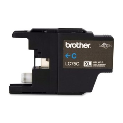Brother BRTLC75C LC75C (LC-75C) High-Yield Ink, 600 Page-Yield, Cyan