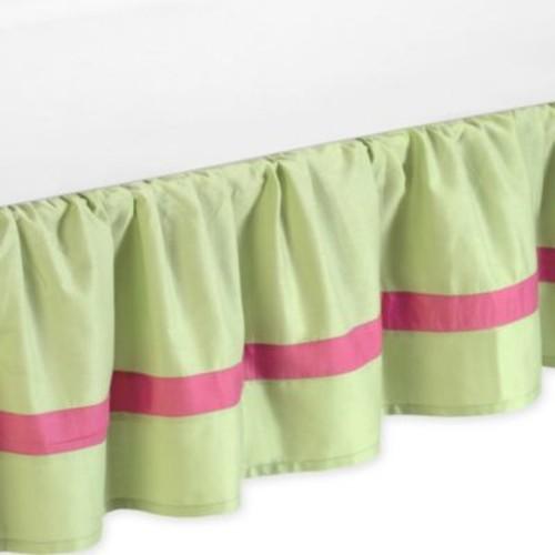 Sweet Jojo Designs Flower Toddler Bed Skirt in Pink/Green