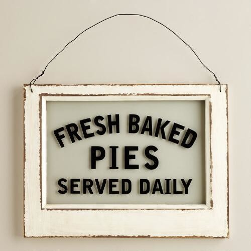 Wood and Glass Pie Sign