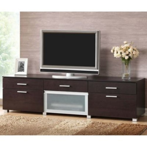 Baxton Studio Basillio TV Stand in Dark Brown