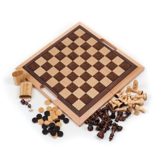 Trademark Games 3-in-1 Chess, Backgammon & Checker Set