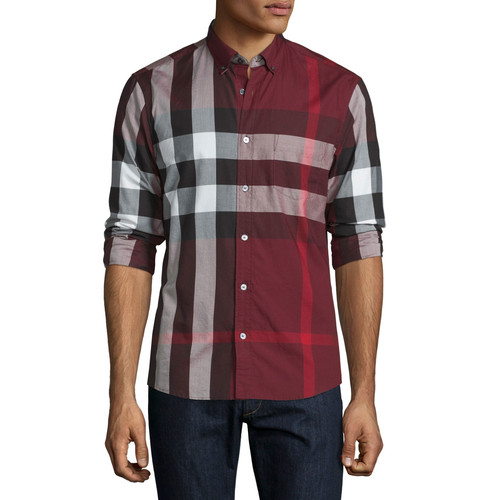 BURBERRY BRIT Exploded Check Long-Sleeve Sport Shirt, Claret