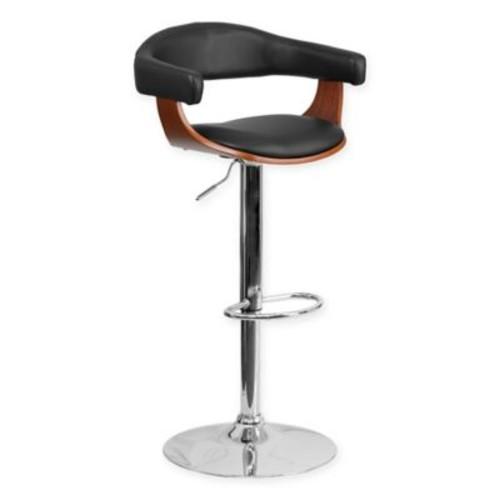 Flash Furniture Bentwood Adjustable Height Bar Stool in Black/Walnut