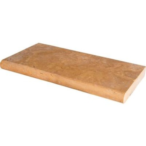 MS International Riviera 12 in. x 24 in. Brushed Travertine Pool Coping (15 Piece / 30 Sq. ft. / Pallet)