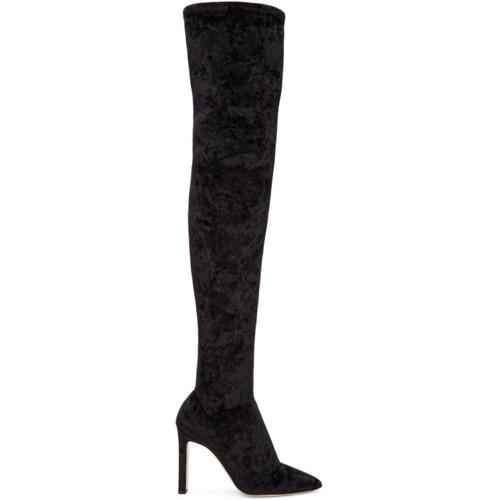 JIMMY CHOO Black Velvet Lorraine Over-The-Knee Boots
