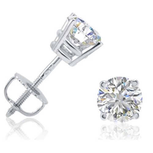 IGI Certified 1ct TW Round Diamond Stud Earrings set in 14K White Gold with Screw Backs
