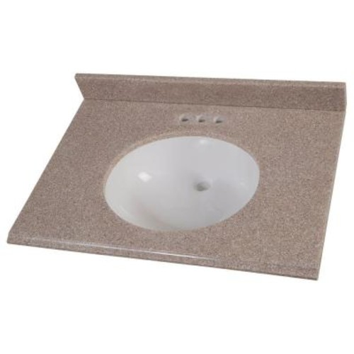 Home Decorators Collection 31 in. Solid Surface Vanity Top in Ginger with White Basin