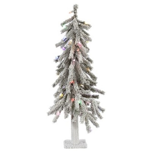 3ft Pre-Lit LED Artificial Christmas Tree White Flocked Alpine - Multicolored Lights