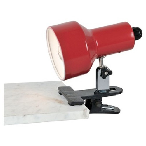 Lite Source Clip-On II 1 Light Table Lamp with Red Shade - Black