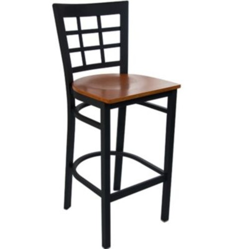 Advantage Window Pane Back Metal Bar Stool - Cherry Wood Seat (BSWPB-BFCW-28)