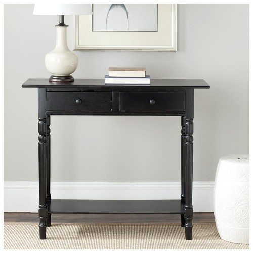 American Home Rosemary Console Table - Distressed Black - Rectangle Top - Four Leg Base - 2 Drawers - 4 Legs - 13.20