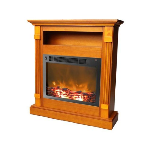 Cambridge Sienna CAM3437-1WHT Fireplace Mantel with Electronic Fireplace Insert, White
