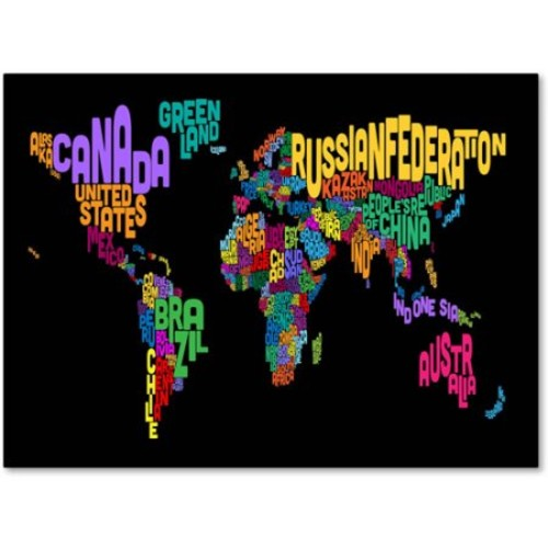 World Text Map 4 by Michael Tompsett work, 14 by 19-Inch Canvas Wall Art [14 by 19-Inch]