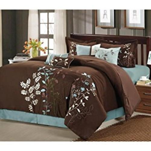 Chic Home Bliss Garden 8 Piece Embroidered Comforter Set, Queen, Brown [Brown, Queen]