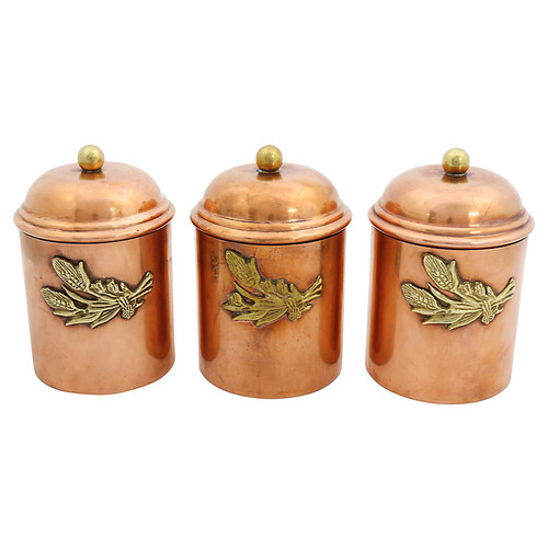 French Copper Kitchen Canisters, S/3