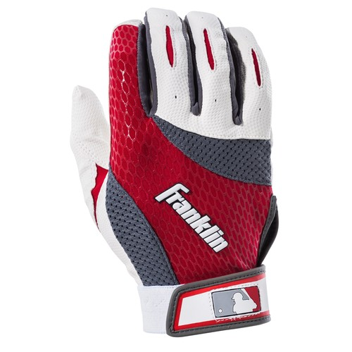 Franklin Sports 2nd-Skinz Batting Gloves Black/White/Red Adult Small