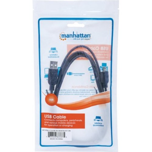 Manhattan Hi-Speed A Male/Mini-B Male USB Device Cable, 6', Black