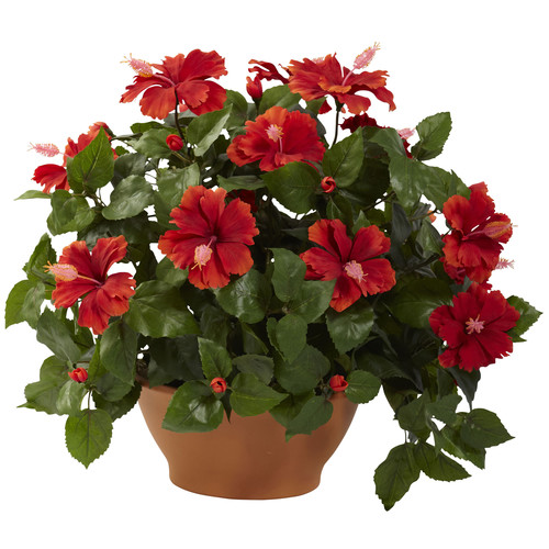Nearly Natural Hibiscus Desk Top Plant in Planter