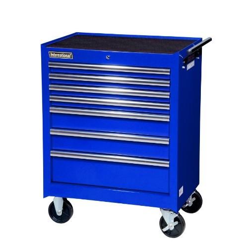 International VRB-2707BU 27-Inch 7 Drawer Blue Tool Cabinet with Ball Bearing Drawer Slides