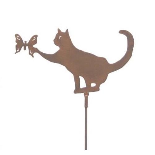 ZGardenParty Cat w/ Butterfly Garden Stake