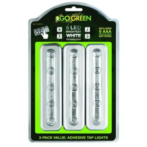 Power By Go Green 5 LED Tap Light with Battery (3-Pack)