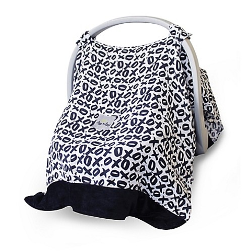Itzy Ritzy Cozy Happens Infant Car Seat Canopy and Tummy Time Mat in XOXO Black/White