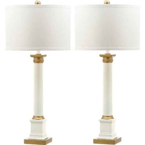 Safavieh Henley Table Lamp with CFL Bulb, White/Gold with Off-White Shade, Set of 2
